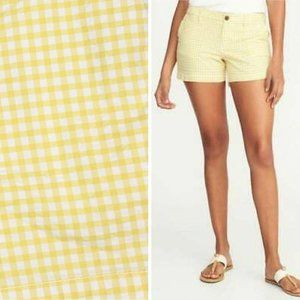 NWT Old Navy 0 Short Everyday Yellow White Gingham